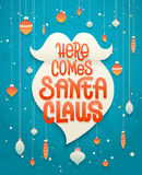 Here comes Santa Claus lettering on white beard silhouette Royalty Free Stock Photography