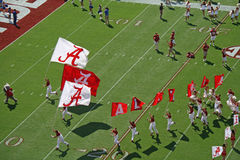 Here comes the Tide. University of Alabama flags in front of football teams entrance into Bryant Denny Stadium during pregame Royalty Free Stock Images
