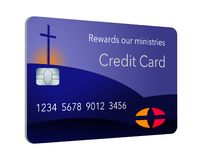 Here is a credit card sponsored by a religious entity that gives rewards back to the ministry when used by parishoners. It is a rewards religious credit card vector illustration