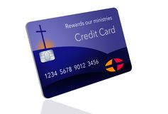 Here is a credit card sponsored by a religious entity that gives rewards back to the ministry when used by parishoners. It is a rewards religious credit card royalty free illustration