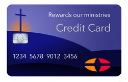 Here is a credit card sponsored by a religious entity that gives rewards back to the ministry when used by parishoners. It is a rewards religious credit card stock illustration