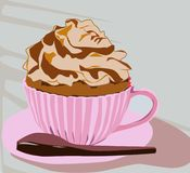 Here is a delicious and yummy cupcake mug stock illustration