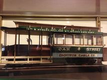 Very detailed, scale model of a previous San Francisco Cable Car, 1. Here a detailed replica of the Oak Street line Omnibus. Although rarely used now, omnibus Stock Images