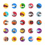Cars with Cargo and Shipping Trucks Flat Icons royalty free illustration