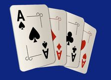 Here are four ace playing cards. A winning poker hand. This is an illustration stock illustration