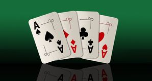 Here are four ace playing cards. A winning poker hand. This is an illustration royalty free illustration