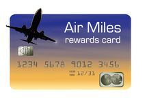 Here is a generic air miles rewards credit card. It is isolated on background stock illustration