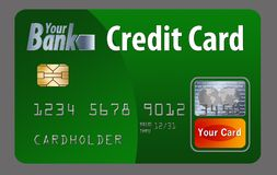Generic credit or debit card isolated on white. Here is a generic bank card. Can be credit card or debit card. It is isolated on the background and had generic stock illustration
