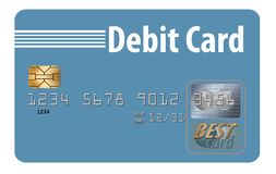 Here is a generic debit card isolated on a white background. Illustration stock illustration