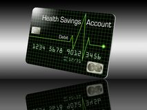 Here is a generic HSA debit card isolated on the background. Health Savings Account. Illustration royalty free illustration