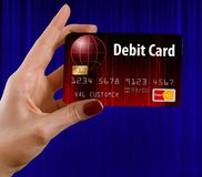 Generic mock bank debit card i. Here is a generic mock bank debit card isolated on the background stock photo