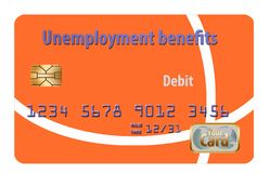 Here is a generic unemployment benefits debit card. It is isolated on white background stock illustration