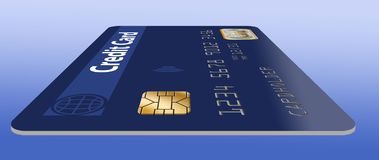 Here is a good view of an EMV chip on a credit card. stock illustration