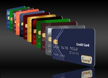 Here is a grouping of generic credit cards in a designed pattern. royalty free illustration