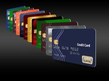 Here is a grouping of generic credit cards in a designed pattern. vector illustration