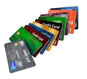 Here is a grouping of generic credit cards in a designed pattern. stock illustration