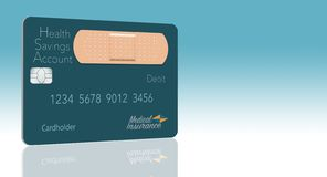 Here is a Health Savings Account medical insurance debit card in a modern design and is decorated with an adhesive bandage to go vector illustration