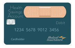 Here is a Health Savings Account medical insurance debit card in a modern design and is decorated with an adhesive bandage to go. With the medical spending vector illustration