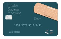 Here is a Health Savings Account medical insurance debit card in a modern design and is decorated with an adhesive bandage to go stock illustration