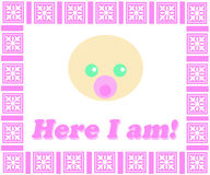 Here I Am_Pink Frame Royalty Free Stock Images