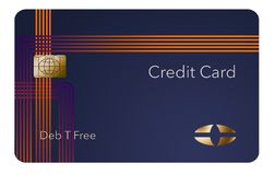 Here is a modern credit card that is a mock with generic logo. This is an illustration stock illustration