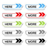 Here, more buttons with arrows - labels, stickers on the white background. Illustration Royalty Free Stock Image