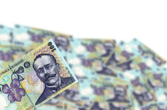 Here is my money. Romanian money lei blurred in white background Royalty Free Stock Images