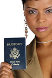 Here is my passport. African American woman hands you her passport Stock Photography