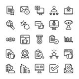 Emotional Opinion and Checklist line Icons Set vector illustration