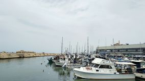 Parking of boats in Port of Jaffa, Tel Aviv, Israel stock photography