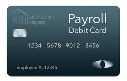 Here is a payroll debit card. It is a pre-paid debit card used to pay employees their payroll wages. It is and illustration stock illustration
