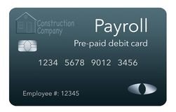 Here is a payroll debit card. It is a pre-paid debit card used to pay employees their payroll wages. It is and illustration royalty free illustration