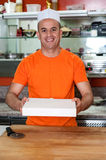 Here is the pizza you ordered! Stock Photo