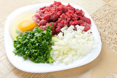 Here is preparing something good to eat. Chopped onion, minced beef, parsley and an egg on plate royalty free stock photo