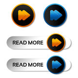 Here, read more, next, go, play buttons with arrow - labels, stiskers on the white background Stock Image