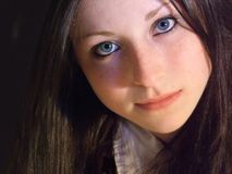Here's Looking at You. Teen girl looking straight ahead, serious Stock Image
