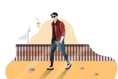 Stylize cool Man Flat Design vector illustration