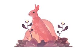 Little Pink Cute Bunny vector illustration