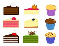 Set of various pieces of cakes and muffines royalty free illustration