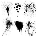 Splatter Vector Graphic Elements. Here are six black vector graphic elements of splatter marks royalty free illustration