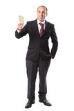 Here are some money. Happy businessman with a hundred euros in his hand stock photography