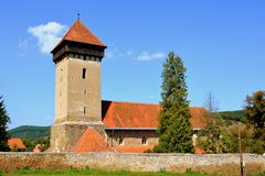 Fortified medieval church in the village Malancrav, Transylvania. Here are some of the most significant Gothic murals in Transylvania. The Saxon Romanesque Stock Photo