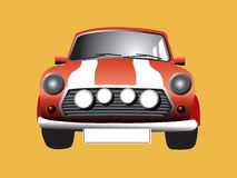 Here somes the Mini. The old mini cooper - you can personalise the number plate vector illustration