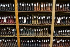 Cowboy boots in a texan cowboy shop. royalty free stock photography
