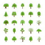 Trees Flat Vector Icons Set stock illustration