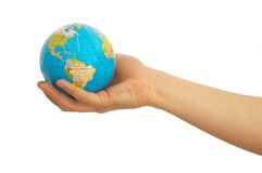 Here is world. Hand holding globe on white background royalty free stock photography