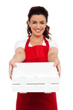 Here is your order sir. Hot pizza at your doorstep. Enjoy your meal. Woman delivering pizza Royalty Free Stock Image