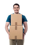 Here is your parcels sir ! Royalty Free Stock Images