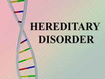 Hereditary Disorder concept. 3D illustration of HEREDITARY DISORDER script with DNA double helix , isolated on red gradient Royalty Free Stock Photo