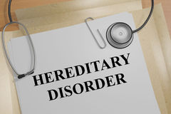 Hereditary Disorder - medical concept. 3D illustration of HEREDITARY DISORDER title on a medical document Stock Photos